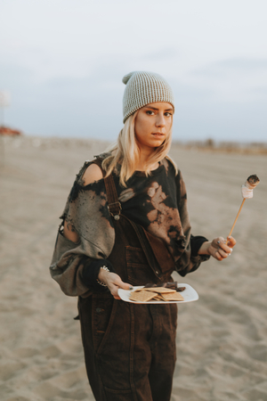 Woman with a plate of food
