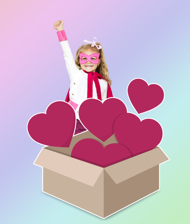 Superhero with a box full of hearts