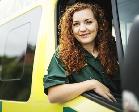 Woman driver inside an ambulance
