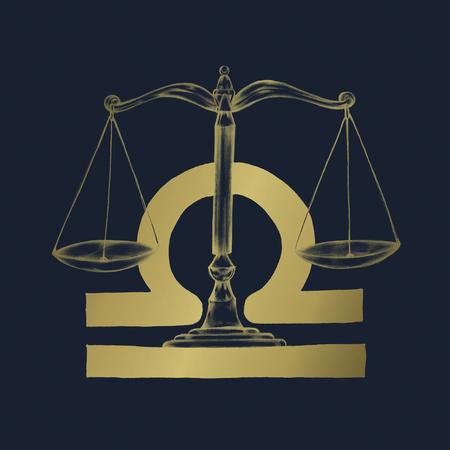 Hand drawn horoscope symbol of Libra illustration