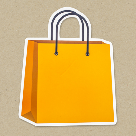 Yellow shopping bag icon isolated