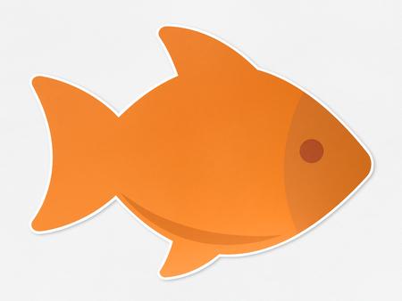 Orange fish icon isolated on white background Stockfoto