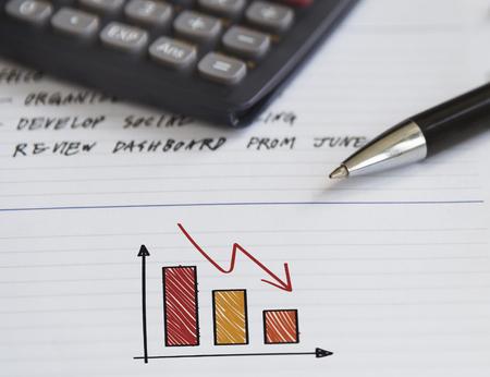 Decreasing bar chart concept