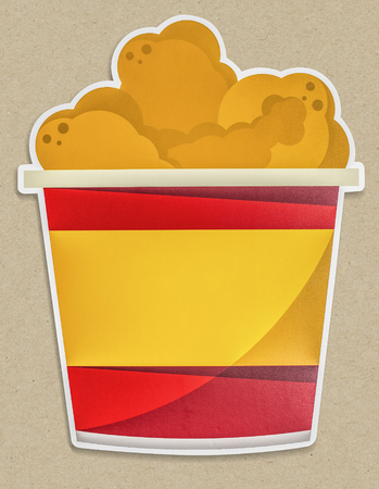 A bucket of fried chickens icon illustration