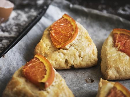 Homemade orange scones food photography recipe idea Stok Fotoğraf