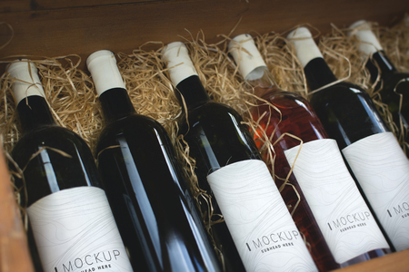 Collection of wine bottle mockups Foto de archivo