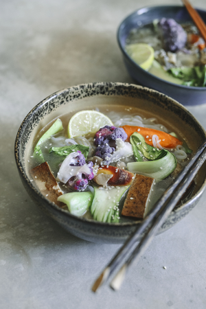Vegan noodle soup with tofu food photography recipe idea