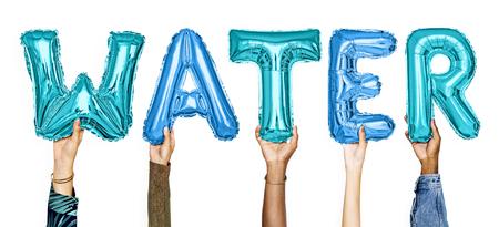Hands showing water balloons word Imagens
