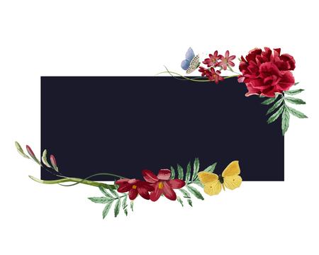 Floral frame invitation card design Stok Fotoğraf
