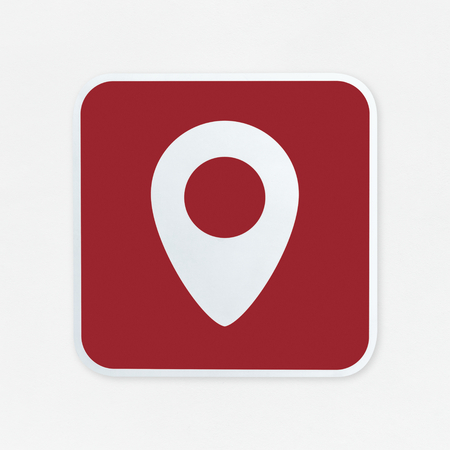 Check-in pin red button icon isolated