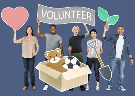 Happy diverse people holding volunteer banner 写真素材