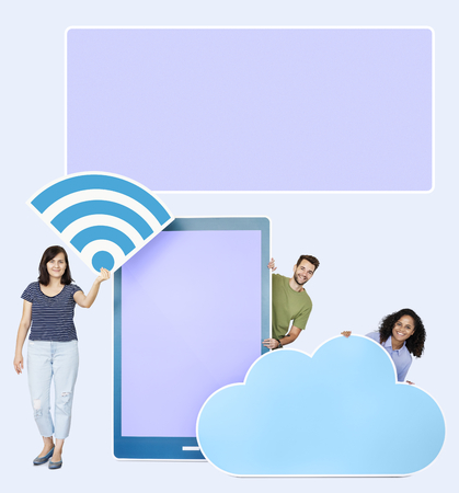 People holding wifi, mobile and cloud cardboard cutouts
