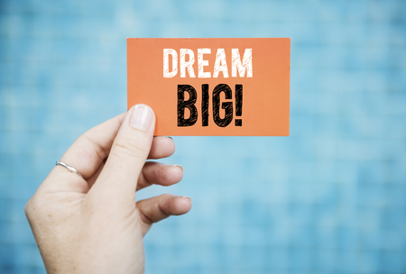 Wording Dream big on a business card