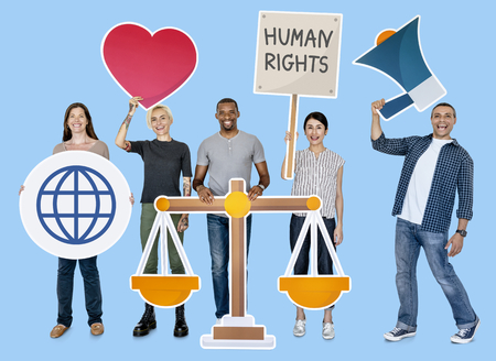 Diverse people holding human rights symbols Imagens