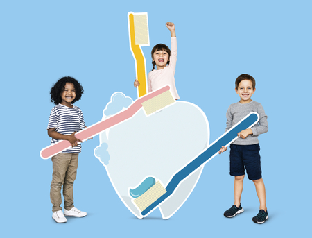 Diverse kids learning about dental care Stock Photo - 111782644