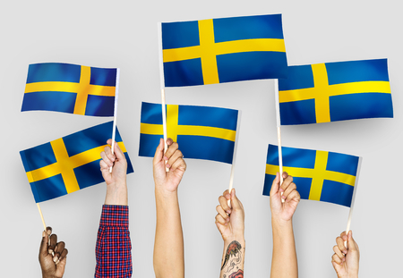 Hands waving the flags of Sweden 版權商用圖片