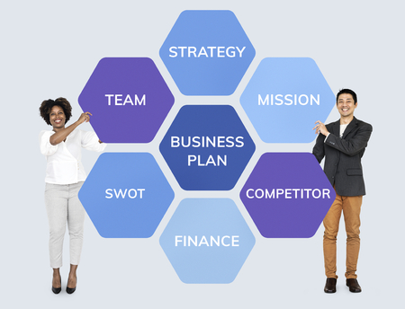 Partners with a business plan Stock fotó