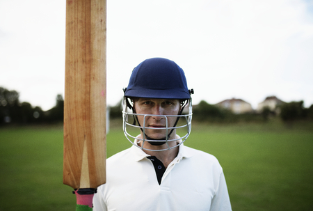 Portrait of a cricket player on the field