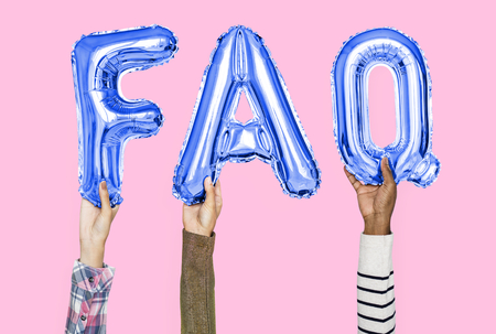Hands holding FAQ word in balloon letters