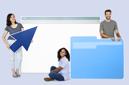 People with a webpage, a folder, and a cursor icons 스톡 콘텐츠