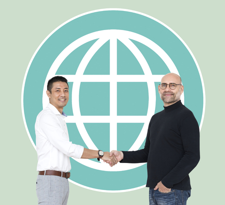 Men agreeing to save the environment Stock Photo