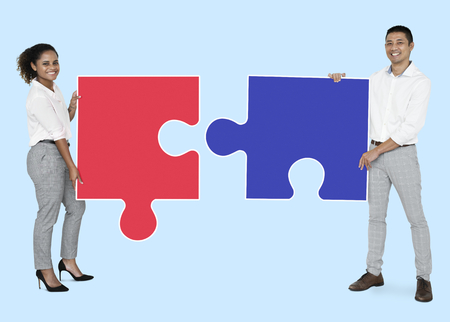 People with puzzle concept Stock Photo