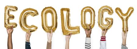 Hands showing ecology balloons word Banco de Imagens
