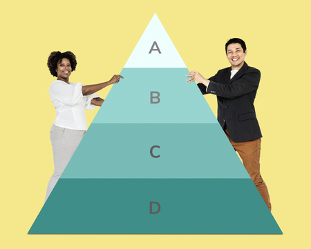 Happy people with a pyramid graph