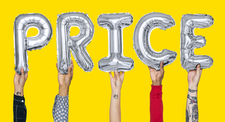Hands holding price word in balloon letters Фото со стока
