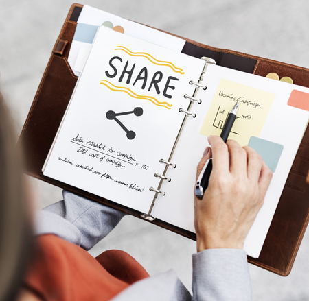 Share concept on a notebook