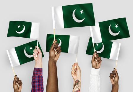 Hands waving flags of Pakistan Imagens