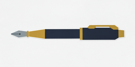 Black and golden fountain pen icon Stok Fotoğraf