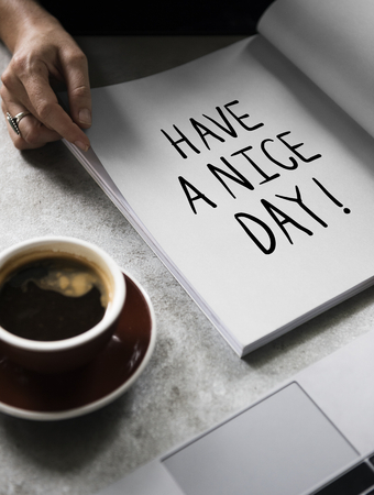 Wording Have a nice day on a book