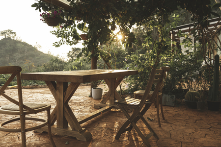 Outdoor dining area of a house in Kanchanburi 스톡 콘텐츠 - 111922079