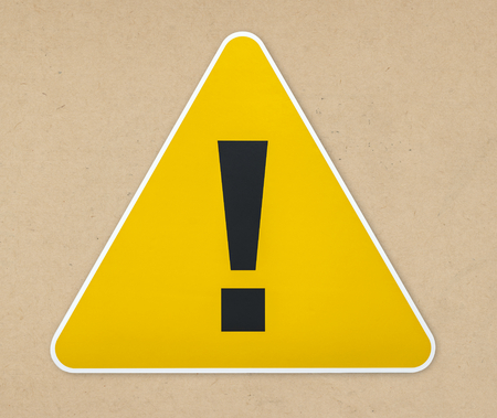 Yellow triangle warning sign icon isolated