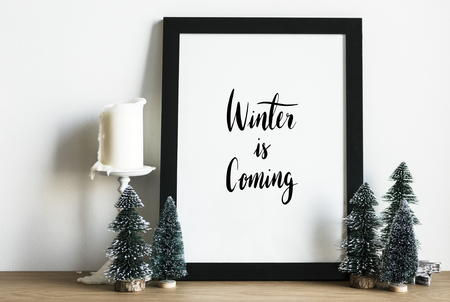 Winter season typography design mockup Stock Photo