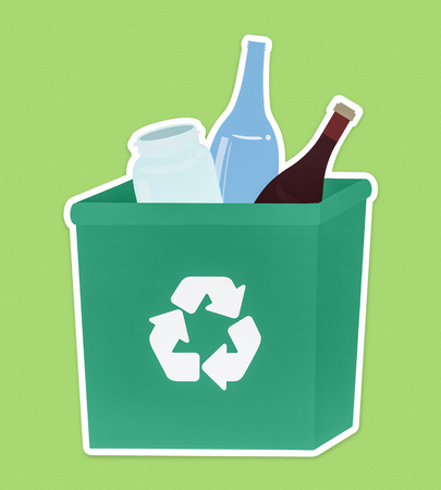 Glass in a green recycling bin Stock Photo