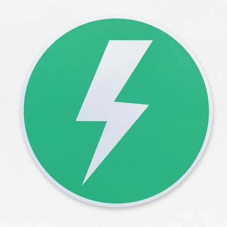 Lightning bolt in a green circle icon vector illustration