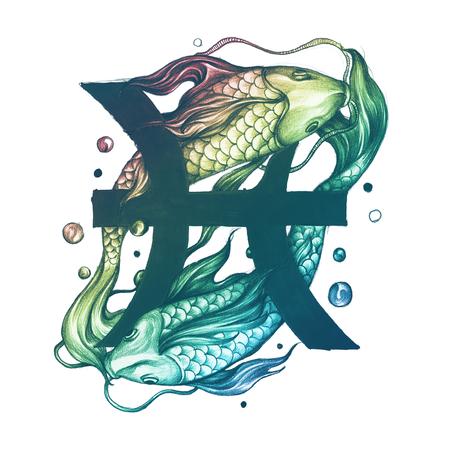 Hand drawn horoscope symbol of Pisces illustration