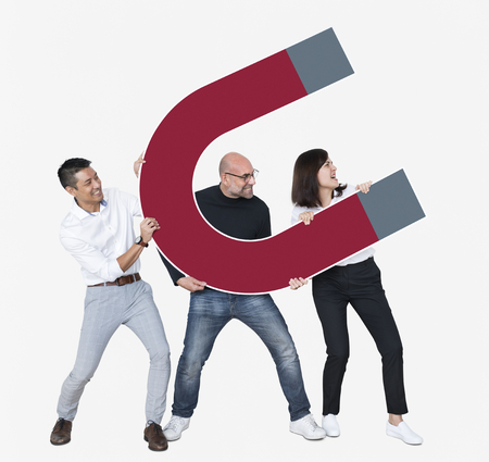 Group of diverse friends holding magnet icon