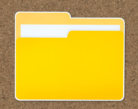Yellow document folder icon isolated Banco de Imagens