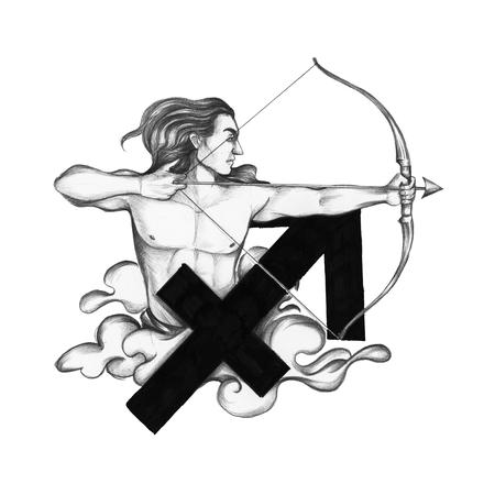 Hand drawn horoscope symbol of Sagittarius illustration