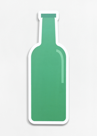 Isolated green glass bottle illustration Stock Photo