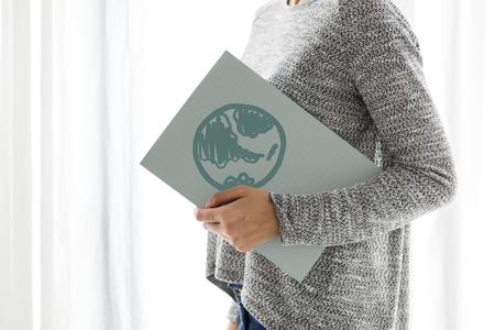 Green globe drawn on a paper