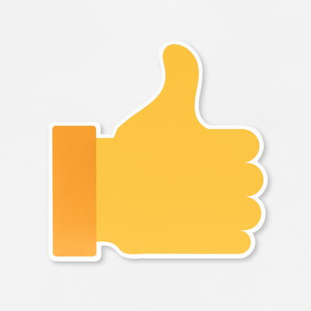 Yellow thumbs up like icon Stock Photo
