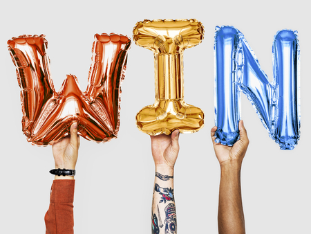 Handen winnen ballonnen woord tonen