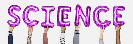Hands holding science word in balloon letters Standard-Bild