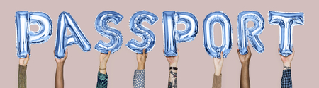 Hands holding passport word in balloon letters
