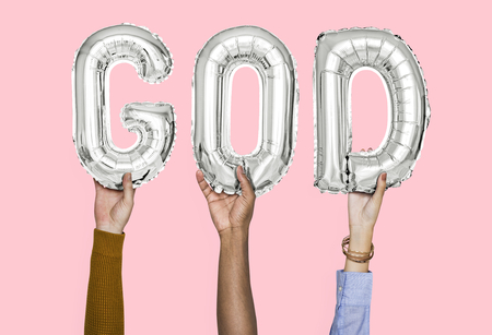 Hands holding God word in balloon letters