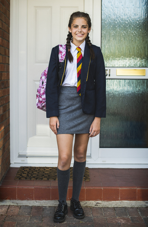 Young teen girl ready for school